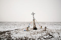 Old wayside shrine in wintertime Stock Photos