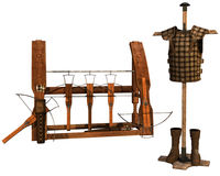 Old weapon rack and leather armor Royalty Free Stock Photos