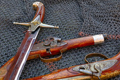 Old weapons. And chain armour Stock Photos