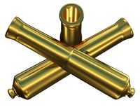 Old weapons. Old cannons in a cross,symbolizing military glory Stock Images