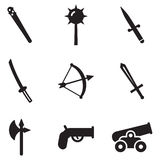 Old Weapons Icons Stock Photography