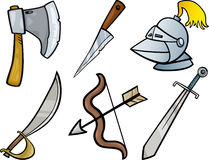Old Weapons Objects Cartoon Illustration Set Royalty Free Stock Photography