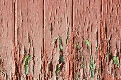 old weather-beaten red door, surface with chapped textured paint Royalty Free Stock Images