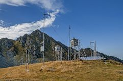 Old weather station in Carpathians mountains Stock Images