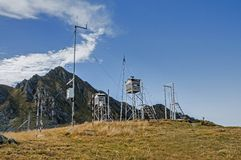 Old weather station in the high mountains Stock Photo