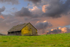Old weathered abandoned barn in a field. Weathered old abandoned barn in a green field under a stormy sky royalty free stock images