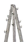 Old weathered aged wooden electricity pole post Stock Photo