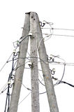 Old weathered aged wooden electricity pole post, wire hub cables, isolated vintage closeup Stock Photos