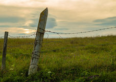Old Weathered Barbed Wire Fence stock image