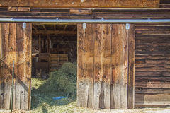 Old weathered barn door hay sunlight. A sunshine view through the open doorway inside the wooden weathered livestock barn shows hay feed for animal forage Stock Photography