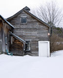 Old Weathered Barn Wood in Winter Stock Photos