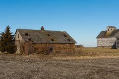 Old weathered barns in NW Illinois. Old wooden barns in the rural Midwest. LaSalle County, Illinois, USA stock images