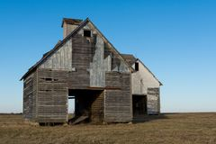 Old weathered barns in NW Illinois. Old wooden barns in the rural Midwest. LaSalle County, Illinois, USA royalty free stock photo