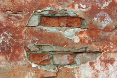 Old weathered brick wall. Fragment close up Royalty Free Stock Photos