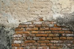 An old weathered brick wall fragment. An old weathered brick wall cement crack royalty free stock photography