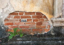 Old weathered brick wall fragment Stock Photo