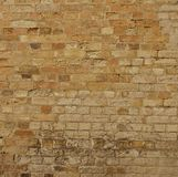 Old weathered brick wall, sepia Stock Photo