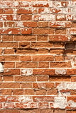 Old weathered brick wall, vertical grunge background Royalty Free Stock Photo