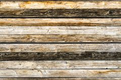 Old natural brown barn wood wall. Wooden textured background pattern. Old weathered brown barn wood wall. Wooden wall background design. Wood planks, boards are royalty free stock images