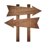Old weathered brown blank arrows showing the direction of movement Stock Image