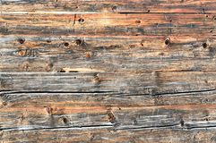 Old natural brown cabin wood wall. Wooden textured background pattern. royalty free stock photography
