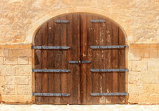 Old weathered brown wooden vintage gate Royalty Free Stock Photo