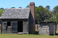 Settlers Cabin. Old weathered cabin used by early settlers Stock Image
