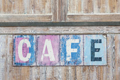 Old weathered cafe sign Royalty Free Stock Photo