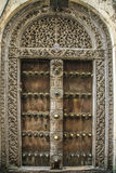 Old weathered carved traditional zanzibarian door Royalty Free Stock Photos