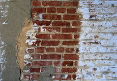 Old, weathered cement and brick wall Stock Photo