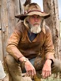 Old weathered cowboy royalty free stock images