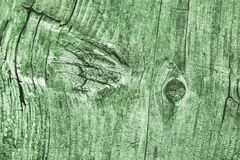 Old Weathered Cracked Knotted Kelly Green Pine Wood Floorboards Grunge Texture Stock Photography