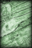 Old Weathered Cracked Knotted Kelly Green Pine Wood Floorboards Vignetted Grunge Texture Stock Photo
