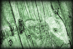 Old Weathered Cracked Knotted Kelly Green Pine Wood Floorboards Vignetted Grunge Texture Stock Photography