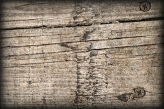 Old Weathered Cracked Knotted Pine Wood Floorboards Vignetted Grunge Texture Stock Image