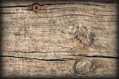 Old Weathered Cracked Knotted Pine Wood Floorboards Vignetted Grunge Texture Stock Photography