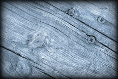 Old Weathered Cracked Knotted Powder Blue Pine Wood Floorboards Vignetted Grunge Texture Royalty Free Stock Photography