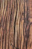 Old Weathered Cracked Rotten Wooden Cross Tie Grunge Surface Texture. Old, weathered, rotten wooden railroad tie, with lateral curved cracks, and a cut mark Stock Photo