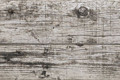 Old Weathered Cracked Wooden Planks Surface Texture. Old, weathered, rotten plank, with wood knots, lateral cracks, lichen and fungi growth Stock Photo