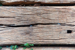 Old Weathered Cracked Wooden railroad tie Texture Stock Photos