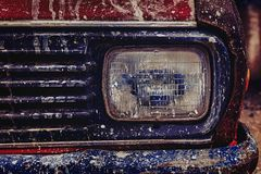 Old Rusty Car Front View. Isolated. royalty free stock images