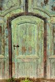 Old and weathered door with rust. Old and weathered door of an abandoned castle in Hungary stock photo
