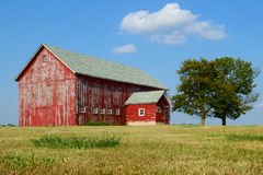 Old weathered farm barn. Old red weathered farm barn Royalty Free Stock Photography
