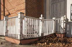 Old weathered fence. Weathered fence in front of an abandoned church Royalty Free Stock Image