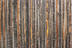 Old weathered fence made of vertical wooden planks Stock Image