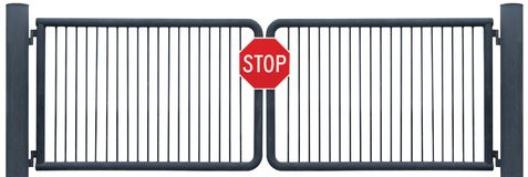Old Weathered Gate Stop Sign Black Isolated Stock Photos