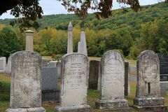 Old,weathered gravestones in Connecticut's historic Center Cemetery,New Milford,2015 Stock Photography