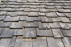 Old, weathered gray shingle roofing Stock Photography