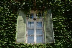 Old and weathered green window. Made from wood in a castle in Hungary royalty free stock image