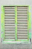 Old weathered green wooden folding shutter Royalty Free Stock Images